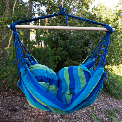 GIANTEX<sup>&reg;</sup> Hammock Swing Chair - Treat yourself to a relaxing moment in this comfortable green and blue multicolor striped hammock swing.  Lightweight and easy to carry, this swing is suitable for adults and children outdoors or in!  Features include selected premium cotton fabric with solid ropes, woven knot hanging point, back support and two seat cushions, and non-slip hardwood spreader. Hook not included.